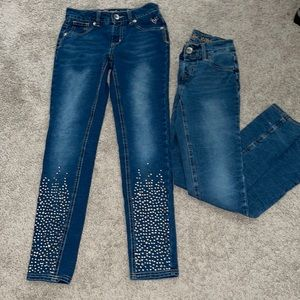 Girls 10 Justice jeans (2 pair) denim jeggings
